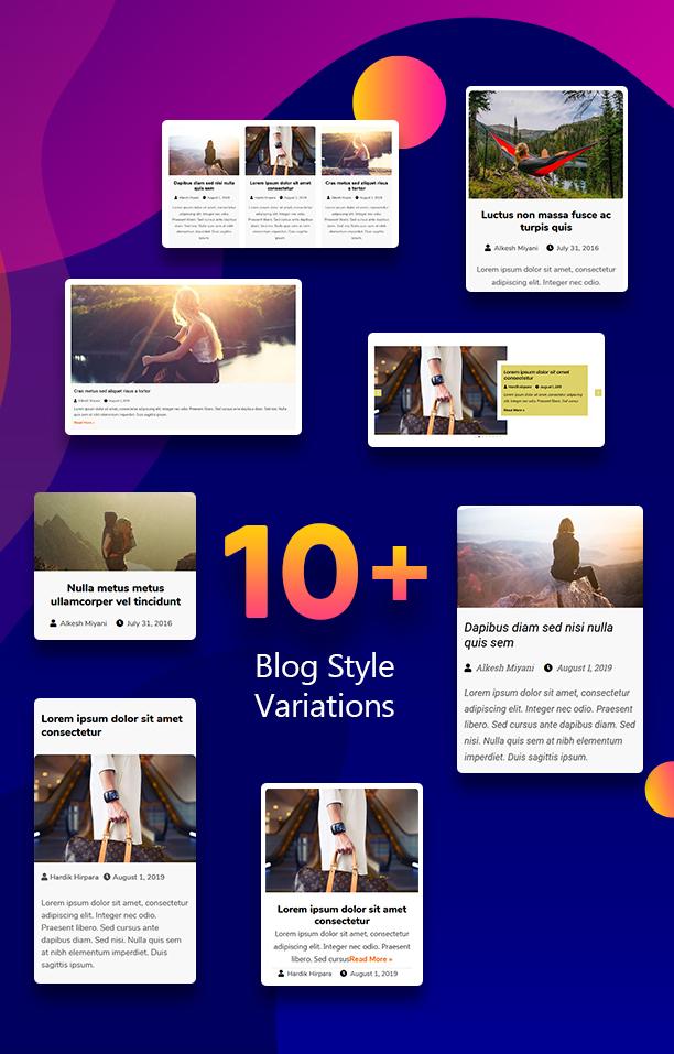10+ Blog Style Variations - Blogmentor Pro for Elementor