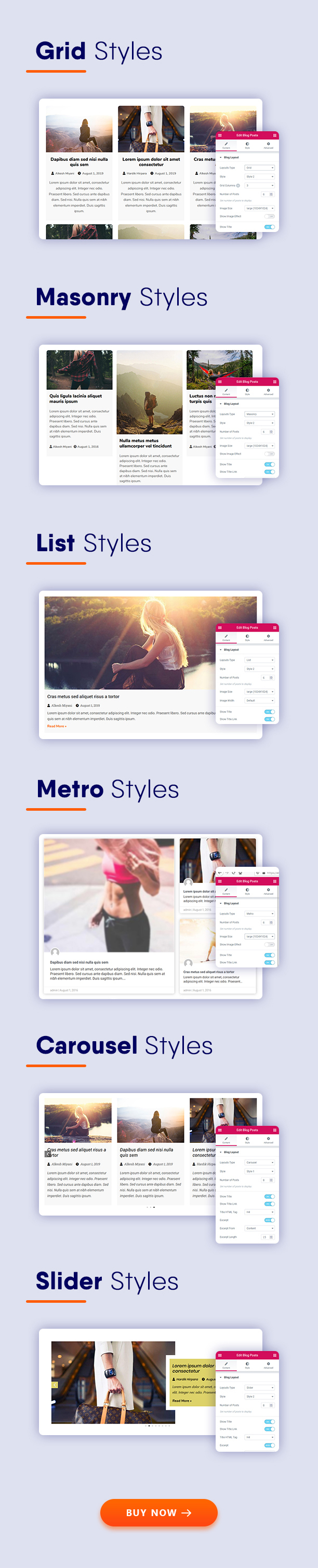 Different Layout Types - Blogmentor Pro for Elementor